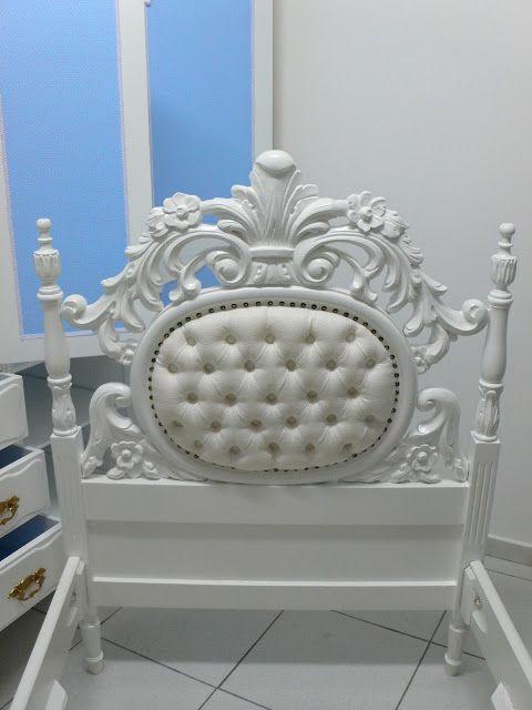 Ateliando - Customização de móveis antigos: Quarto Customizado da Alessandra  Cama de qualquer princesa desejar, antiga, restaurada, repaginada, tapeçada e laqueada pelo nosso atelier!