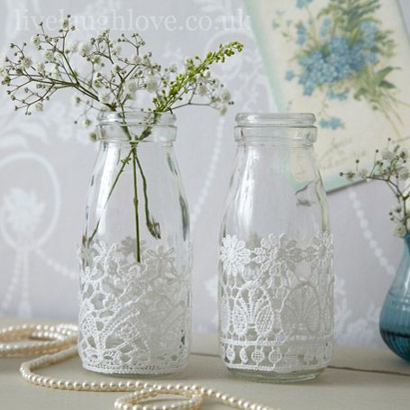 Decorative Milk Bottles with Lace. I've got some bottles I could do this with.