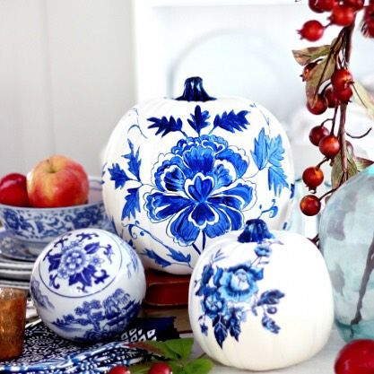 These Blue Porcelain Pumpkins From Mscraftberrybush Are