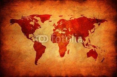 mata magnetyczna Stare płótno z mapy świata.