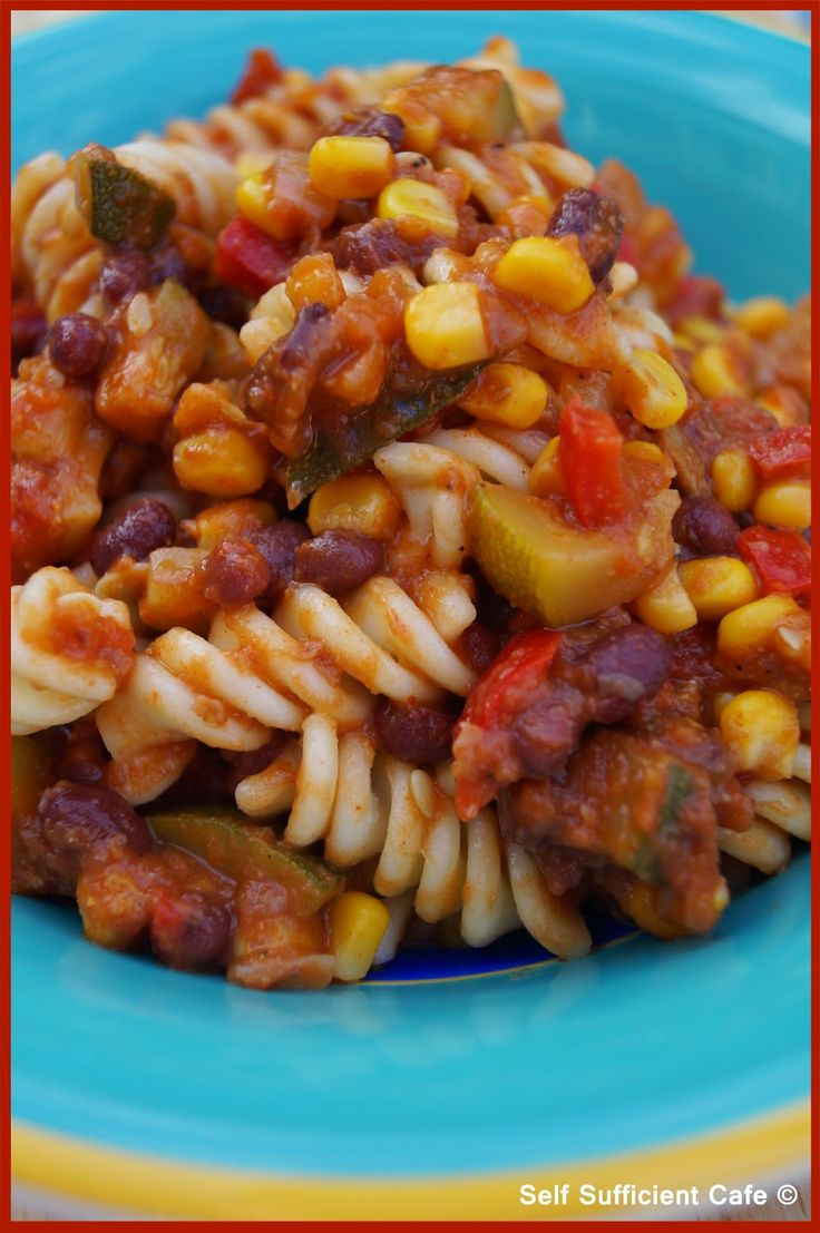Self Sufficient Cafe: Specials Board: Camp Dinner - Adzuki & Sweetcorn Chilli