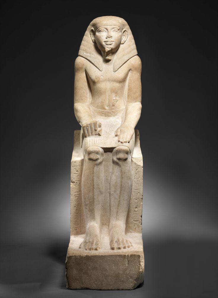 Limestone seated statue of the Steward Sehetepibreankh. 12th dynasty. Reign of Amenemhat III, c. 1919 - 1885 B.C.   The Metropolitan Museum