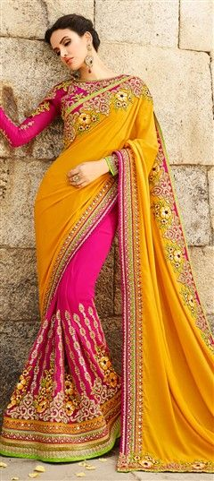 180738 Pink and Majenta,Yellow  color family Bridal Wedding Sarees in Crepe,Faux Georgette fabric with Lace,Machine Embroidery,Patch,Resham,Sequence,Stone,Zari work   with matching unstitched blouse.
