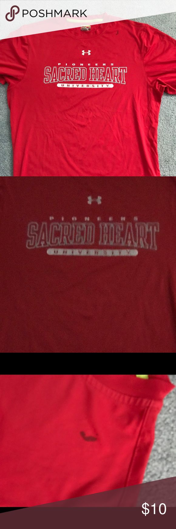 Sacred Heart University dryfit t shirt Under Armour Red college game day athletic T-shirt... small mark shown in photo Under Armour Shirts Tees - Short Sleeve