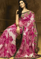 This is the place to buy beautiful Indian clothes on line.  Pretty Pink Faux Georgette Saree with Blouse... I want to wear this when I do my 10th Anniversary Vow renewal!  So Beautiful.