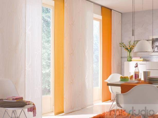 #wnętrze #salon #dekoracje #dekoracjeokien #interior #wnetrza #zasłony #firany #okno #okna #panele #biały #white #biel #pomarańczowy #orange #kuchnia #kitchen >> http://www.mkstudio.waw.pl/systemy-wewnetrzne/panele/