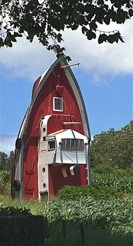 recycled boat - turned - house