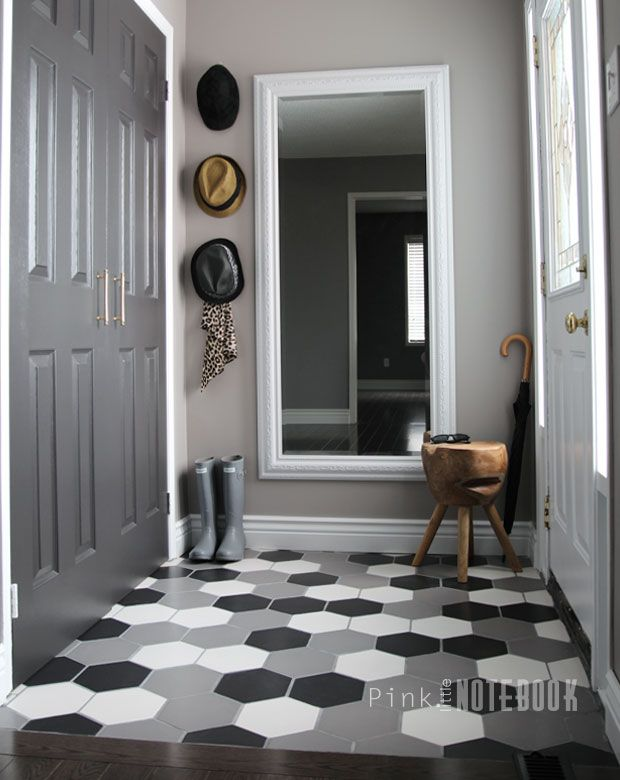 Foyer Flooring Zip : Front foyer before after entryway tile floor grey
