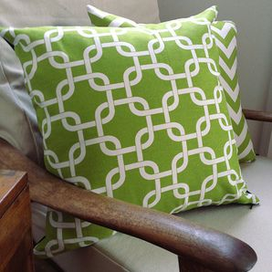 Lime Green Chain Link Cushion Cover by Black Eyed Susie