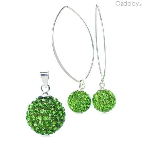 Zielony komplet Swarowskiego: naszyjnik + kolczyki, w kształcie kuleczek