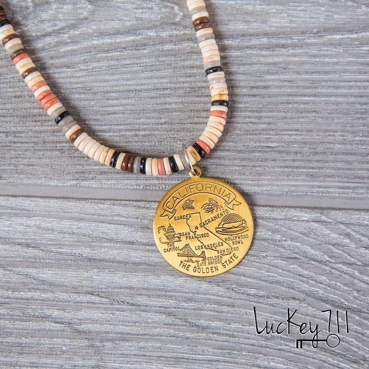 California Necklace CA Long Beaded Vintage Upcycled Repurposed Handmade Jewelry #Handmade #Charm