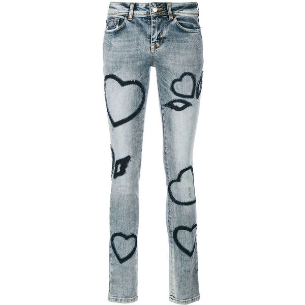 Iceberg heart patch denim jeans ($390) ❤ liked on Polyvore featuring jeans, blue, blue jeans, patching blue jeans, patched jeans and iceberg jeans