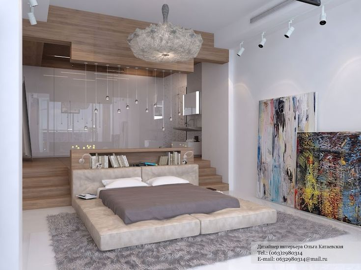 Bedroom with stairs that lead to a closet stage
