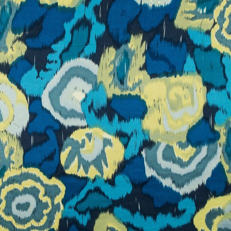 Imperial Blue and Limeade Ikat Printed Silk Charmeuse