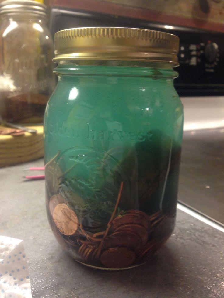 Jar of pennies+vinegar+some peroxide... Green wood stain