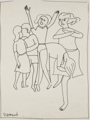 Charles Blackman 'Five Little Children' - ink on paper