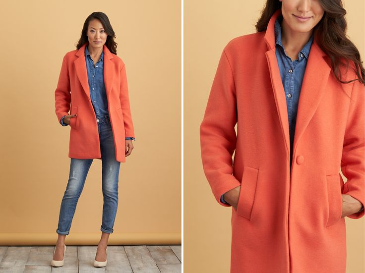 Love the style:  simple but with a beautiful pop of the color orange!.  Your Fall Coat Guide