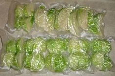 Cabbage blanched, vacuum packed and ready to freeze.