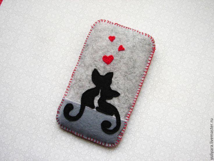 """Купить Чехол для телефона из фетра """"Кошки"""" - серый, фетр, из фетра, чехол, чехол для телефона"""