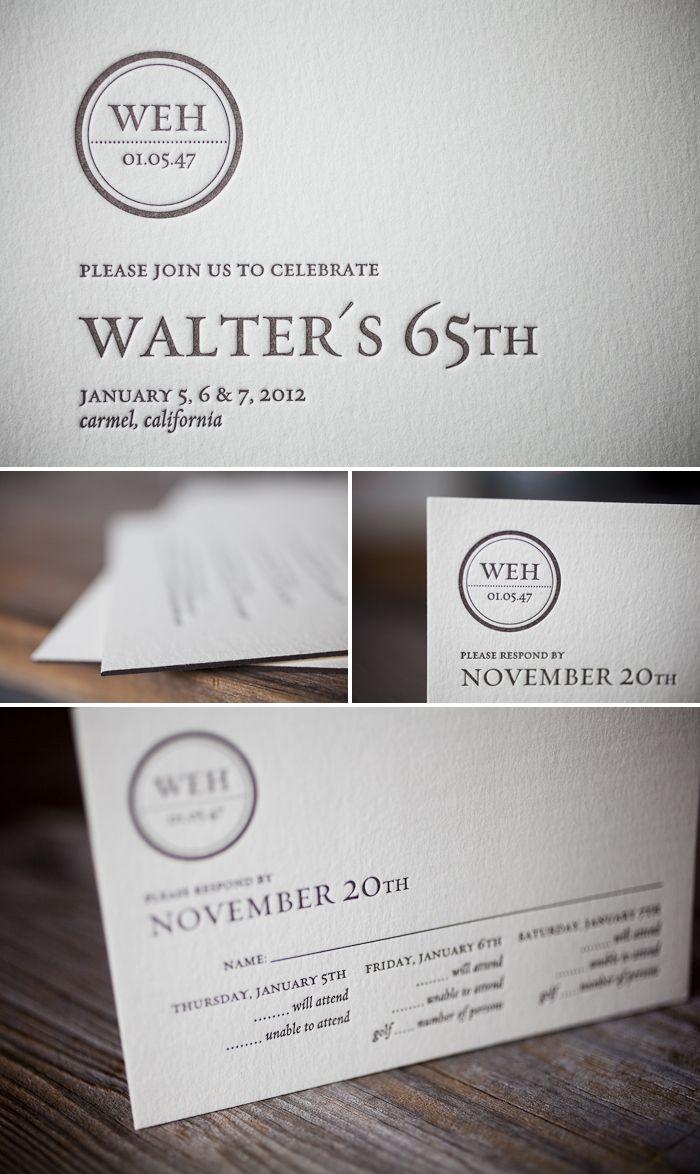 Modern letterpress birthday invites by Bella Figura