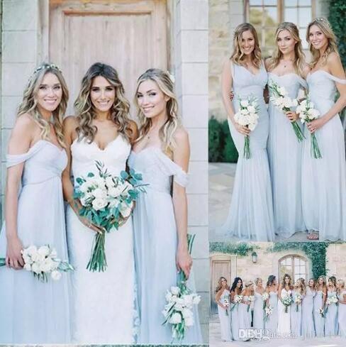Amsale 2017 Gorgeous Draped silver Blue Off-shoulder Beach Boho Long Bridesmaid Dresses Bohemian Wedding Party Guest Bridesmaids Gown Cheap