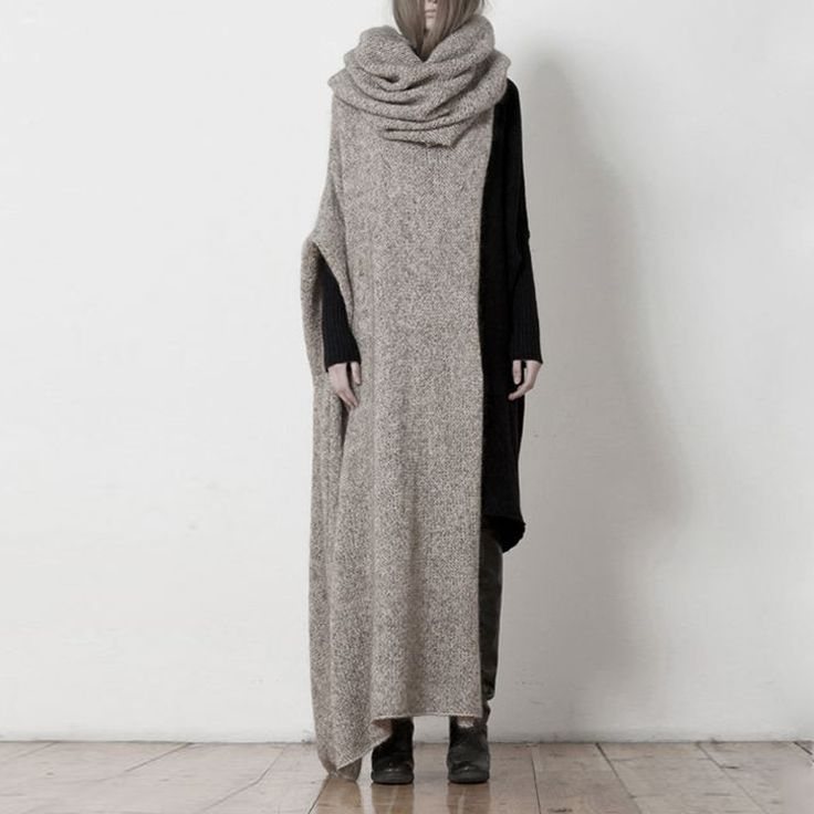 Arm Knitting Sweater : Womens high neckline hooded knit maxi dress loose