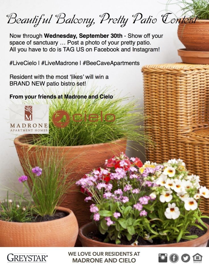 #BeeCaveApartments wants to see your beautiful balconies! Post a photo of your pretty patio and tag #LiveCielo! The contest runs until 09/30 - so get to posting! Resident with the most 'likes' will win a brand new patio bistro set!