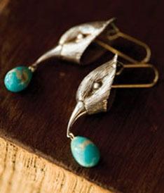 Gabriella Kiss bird head earrins with turquoise drops