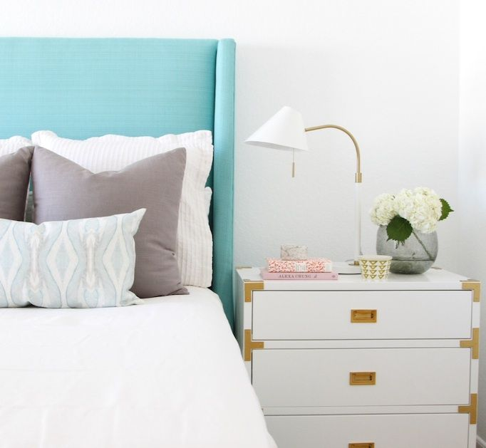 Turquoise Upholstered Headboard + White + Brass Accents including Mid-Century Task Table Lamp from west elm