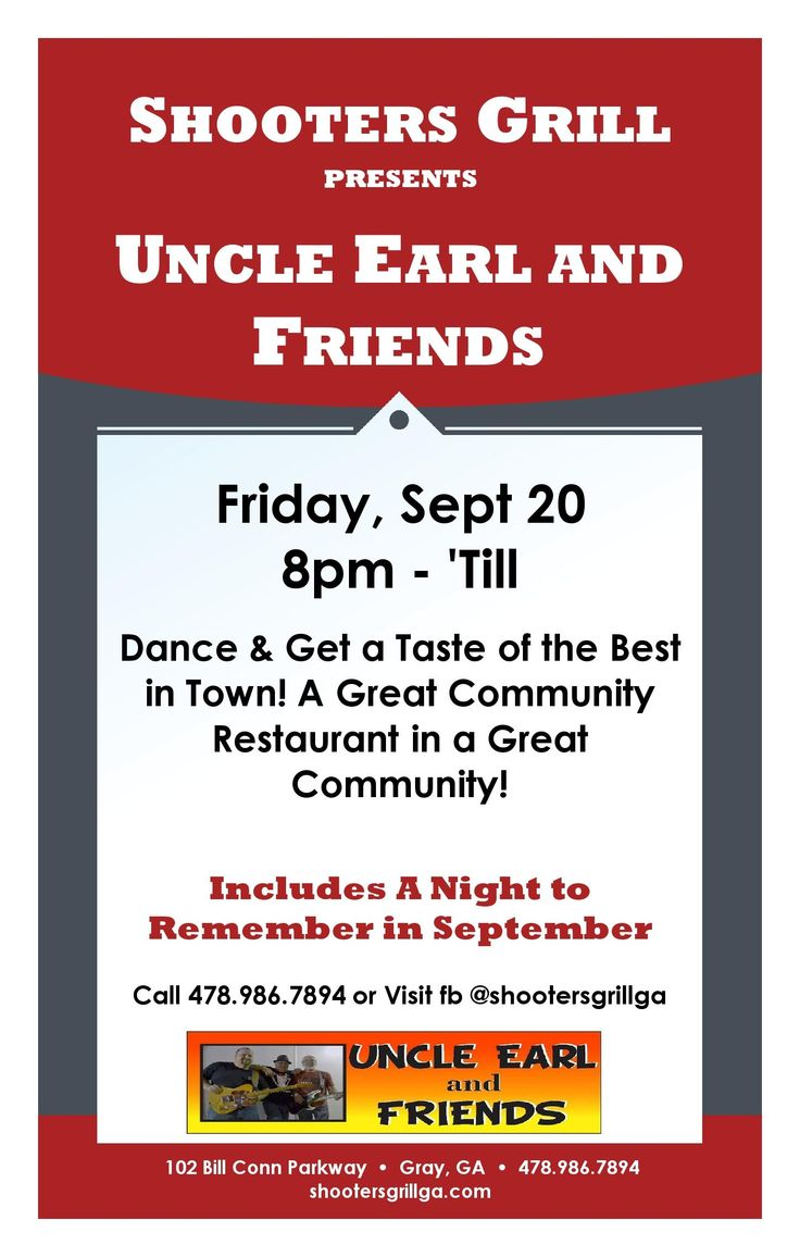 Uncle Earl & Friend Hitting the Shooters Grill Stage on Sept. 20th- see ya there!