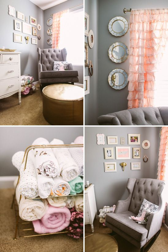 Sweet, Feminine Nursery in Peach, Gold, and Gray