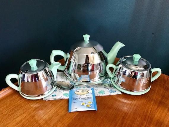Beverly Staffordshire Tea Set Art Deco Style Robin S Etsy Tea Set Art Deco Blue Ceramics