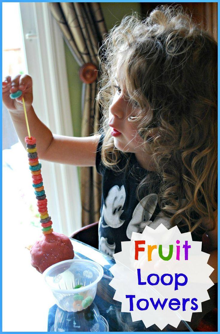 Spanish colors for preschool - Fine Motor Activity Fruit Loop Towers