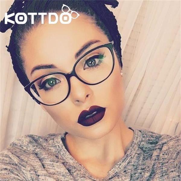 1ad14b616189 KOTTDO Fashion Women Cat Eye Eyeglasses Frame Men Optical Glasses KT2360   Discounts  BestPrice