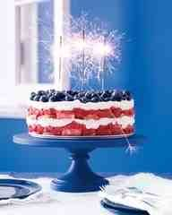 Layer angel food cake, strawberries, whipped cream.. Top with blueberries