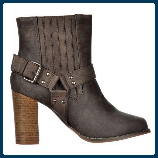 Onlineshoe Frauen Chelsea Ankle Boot Mit Schnürung Und Riemens - Kubanische Blockabsatz - Braun, Schwarz UK3 - Eu36 - Us5 - Au4 Braun - Stiefel für frauen (*Partner-Link)