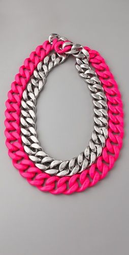 Add a pop of color with a statement chain link neon necklace