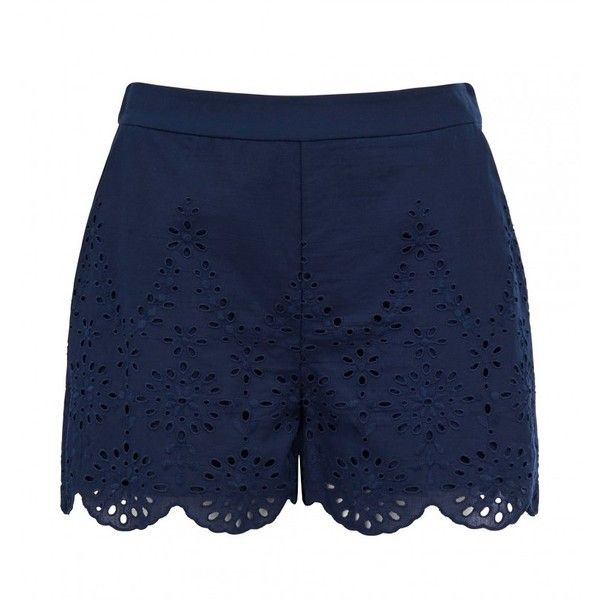 Mollie broderie scalloped short ($34) ❤ liked on Polyvore featuring shorts, scallop hem shorts, embroidered shorts, scalloped edge shorts, summer shorts and short shorts