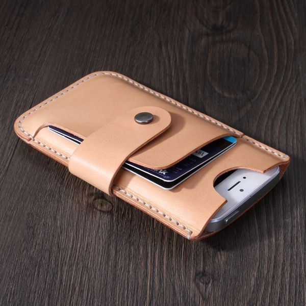 Newest design fashion leather wallet for iphone 5 with card slots, handmake leather case for iphone 5