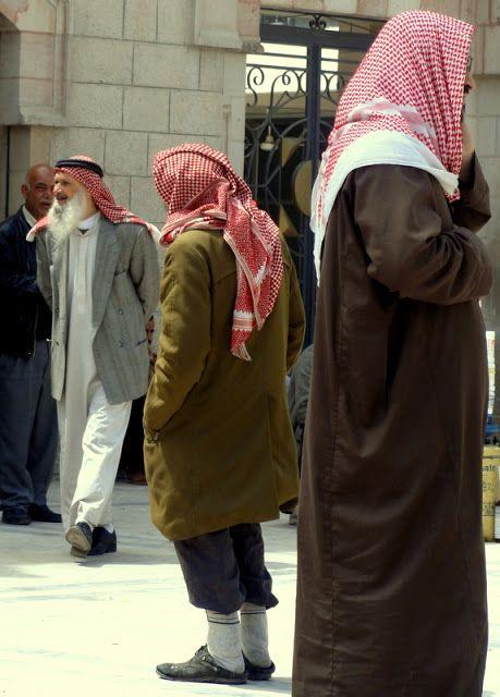 The Jordanian keffiyeh (head scarf for men).
