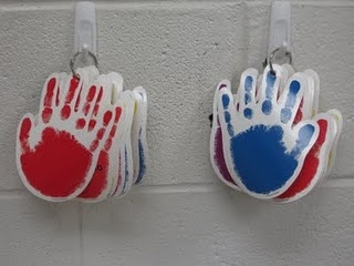 Classroom jobs -- write each students' name on a hand and flip the hands each day to reveal a new daily helper.
