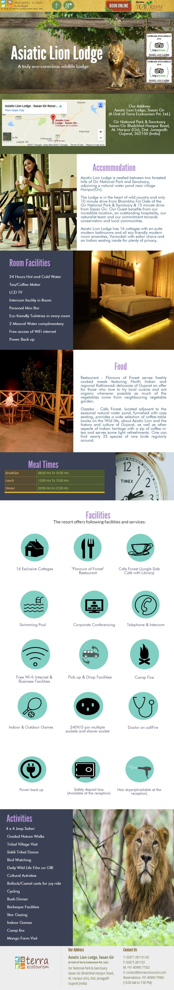 Accommodations in Gir National Park | Asiatic Lion Lodge Infographic
