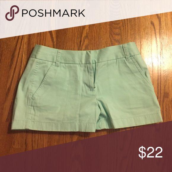 J. Crew Chino Shorts Just like new. Mint Green. 100% Cotton J. Crew Shorts