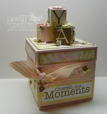 Baby explosion box using Stampin' Up! products by Debbie Henderson, Debbie's Designs.