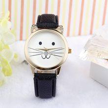 relogio feminino mujer 2015 mode mooie kat gezicht pu leer toevallige vrouwen horloge quartz horloge(China (Mainland))