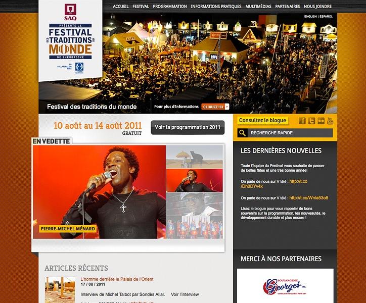 Site Web autogérable pour le Festival des Traditions du monde de Sherbrooke