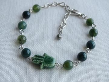 Hamsa Hand Charm Bracelet - Fatima Mary Miriam - Green Moss Agate Beads - One Size Fits - Ready to Ship B044