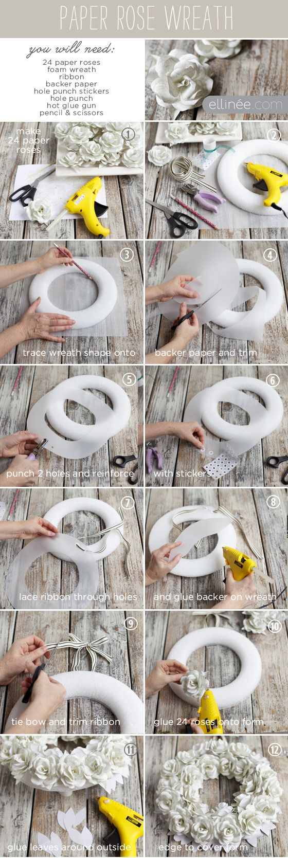 Tutorial:  How to make a paper rose wreath.  Site includes instructions for making the paper roses. - from elinee handcraft your life