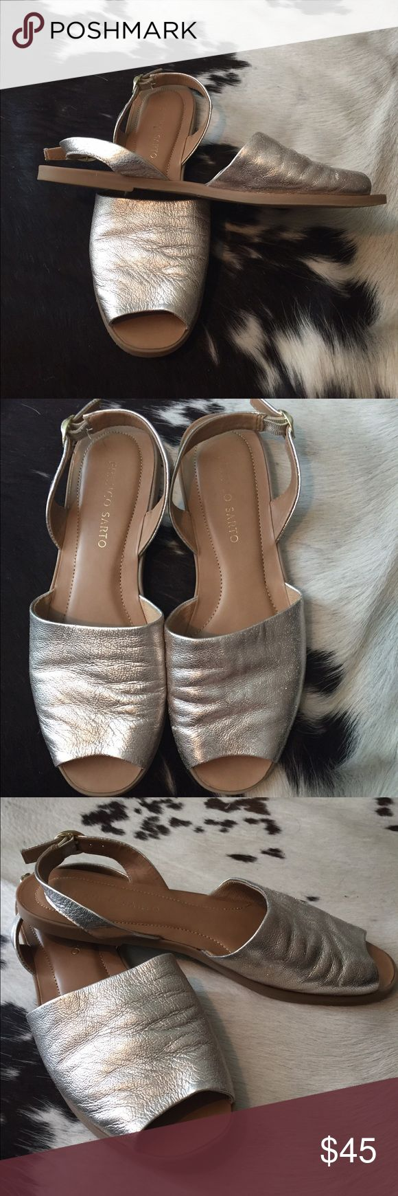 Franco Sarto sandals Gently worn Franco Sarto silver soft leather sandals. Franco Sarto Shoes Sandals