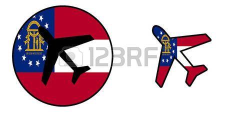bandera de la nación - Avión aislado en blanco - Georgia photo